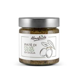Barattolo di patè di olive verdi