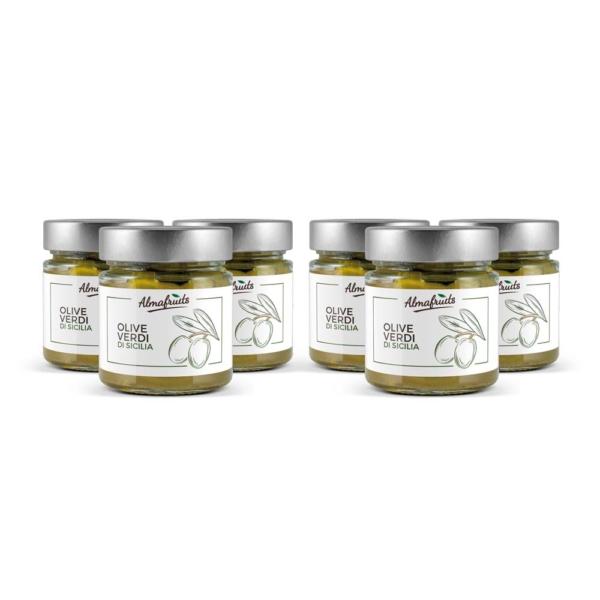 6 vasetti di olive verdi siciliane