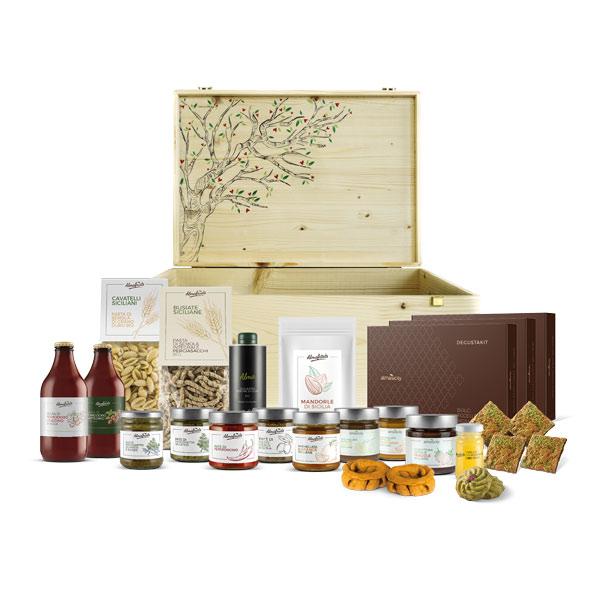 Cesto regalo personalizzato con prodotti tipici siciliani